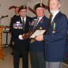 Peter Mills receiving his Life membership award from Comrade President Cliff Weir and G-2 Zone Commander Don Ewart.
