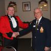 Jerry Witkowicz, Gananoque Legion Poppy Chairman, shakes hands with Captain Trevor Sexton, Officer Commanding of Gananoque's 492 Military Police Cadet Corps. Jerry had just presented Trevor with a cheque for $750 from the Poppy Fund plus $200 that the cadets had raised on Poppy Day. In addition, the Gananoque Legion provides the Cadet Corps with a monthly grant of $75.