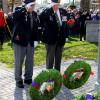 WWII Vet Bill Hale accompanied by Murray Salter, placing a wreath for Canada 11 November 2018.